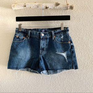 Gap Distressed Shorts Raw Hem Indigo Destory